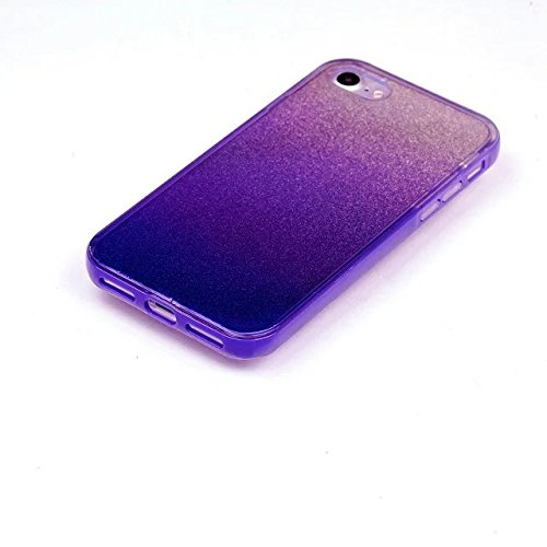 Etsue Glitzer Silikon Schutz HandyHülle für iPhone 6 Plus/6S Plus (5.5 Zoll) Laser Reflect Blue Light Bling TPU Hülle, Luxus Glitzer Glanz Silikon Handytasche Ultradünnen Weiche Durchsichtig Handyhüll Glitter,lila