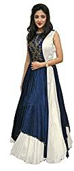 Clickedia Women's Heavy Banglory Silk Jacket Style Semi Stitched White & Blue Floor Length Gown - Dresses