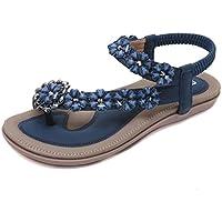 SOMESUN Sandali con Strass di Fiori Boemia Nuovi Sandali delle Donne Estate Scarpe  da Spiaggia Casual 1648a034135