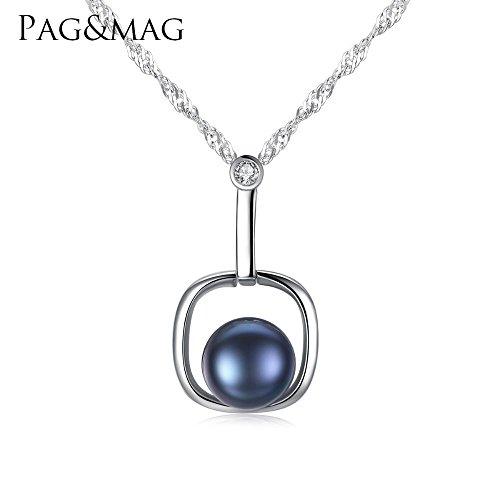 Haixin Pendentif en argent pur eau vague chaîne ornement naturel d'eau douce anti-allergique perle collier de perles de la chaîne longue 40 + 5 cm (réglable)