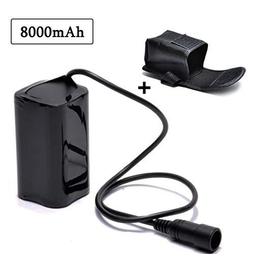 lillimasy Ersatzbatterie für Fahrradlampe, Fahrrad Licht Akku Pack 8.4V 8000mAh für Cree T6 U2 Licht LED Fahrradlampe - Bajonettanschluss - Pack Akku Fahrrad Cree Licht Für