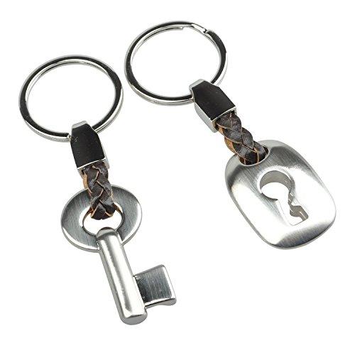 *Buwico Partner Anhänger Schlüsselanhänger modernes Design Lock Ring Schlüsselanhänger für Partner Geschenk Legierung Silber 10 cm/10 cm Länge*