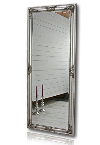 elbmöbel Großer Wandspiegel Einfach mit Holz-Rahmen (150 x 60cm, Silber)