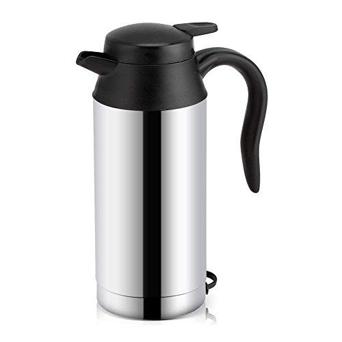 Fdit Bottiglia di acqua di viaggio della tazza da caffè della tazza di riscaldamento della tazza del bollitore per auto dell\'acciaio inossidabile di 12V 750ml