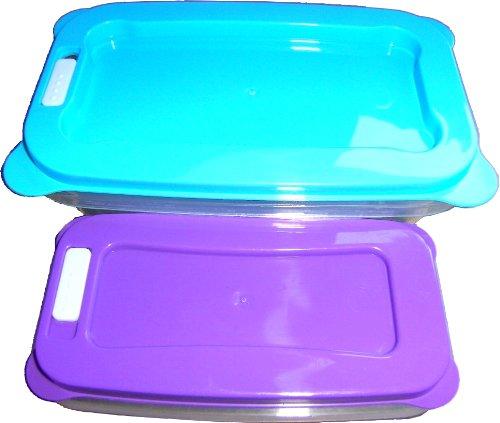 Frischhaltedosen/Aufbewahrungsboxen 2er-Set (Deckel-hellblau+lila)