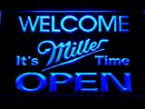 Bienvenue Il est Temps de Miller Bière Open LED Neon Light Sign Man Cave 070-B