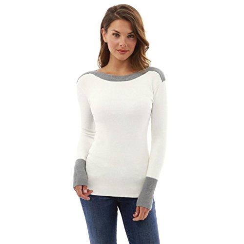 Zolimx Damen Sexy Zur Seite fahren O Hals Lange Ärmel Jumper Pullover Bluse Oberteile (Weiß, S) (Bluse Offenen Hals)