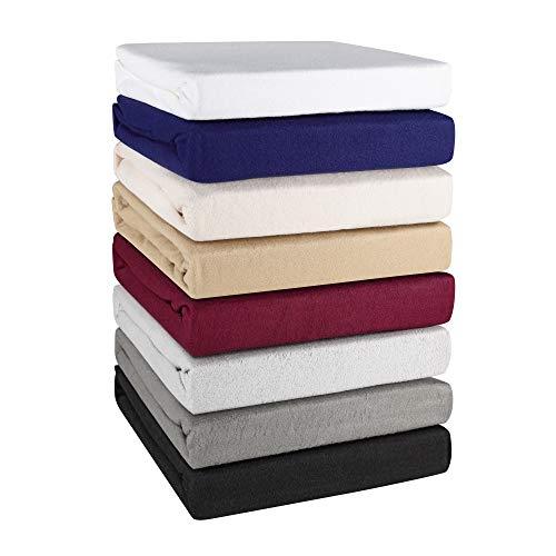 Basatex Winter Spannbettlaken Spannbetttuch Teddy Flausch Thermo Fleece in 8 Farben 4 Größen 200x220 cm auch für Wasserbetten und Boxspringbetten 40 cm Steg Ecru