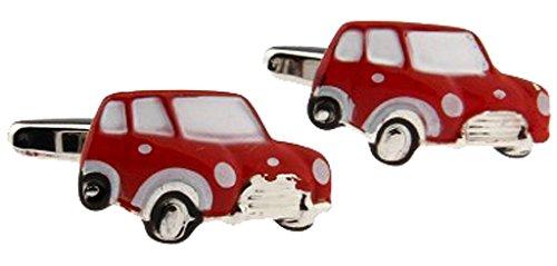 korpikus® Rosso ' Mini ' automobile a tema in acciaio inox Gemelli in sacchetto libero (Polsino Del Papà Gemelli)