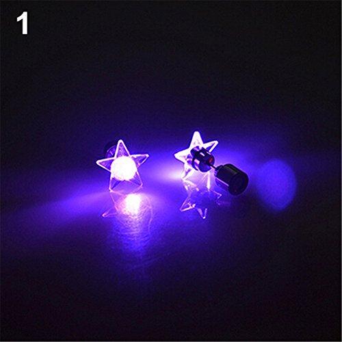 beiguoxia Let's Party LED Licht Stern Ohrringe Ohrstecker für Tanz-Party Weihnachten Halloween Festival Geschenk - Weiß, violett, Einheitsgröße