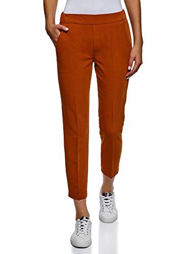 oodji Ultra Donna Pantaloni Stretti con Elastico in Vita, Arancione, IT 44 / EU 40 / M