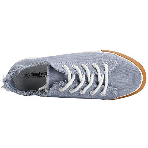 Kentti Bequeme Denim Schnürer Stoff Schuhe Herren Low-Top Sneaker Grau