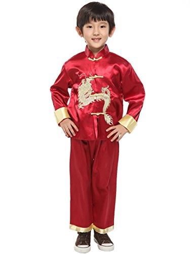 Yodensity Kinder Jungen Tang-Anzug Chinesischen Drachen Stickerei Kung Fu Uniform Lange Ärmel Kostüm (Chinesische Bekleidung)
