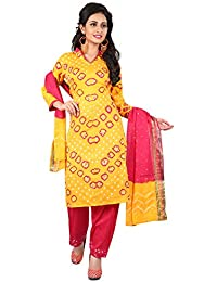 Taboody Empire Together Yellow & Pink Satin Cotton Handi Crafts Bandhani Work With Straight Salwar Suit For Girls...