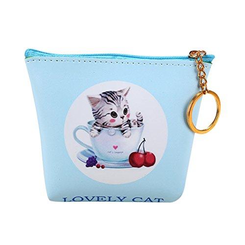 Münzfach Brieftasche (DaoRier Neue Kleine Nette Mädchengeldbörse Leder Schlüsselbund Katzen Muster Dekoration Brieftasche Münzfach)