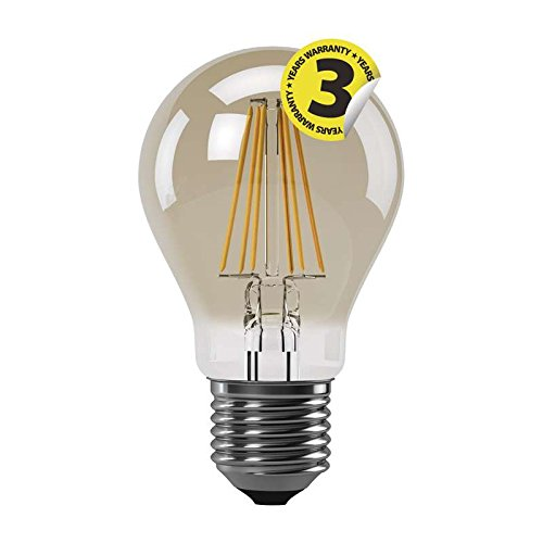 EMOS LED-A60-PFV-4W-E27-WW A+, LED Glühlampe Vintage A60 4W E27 warm weiß+, Glas, 4 watts, E27, Transparent, 6 x 10, 5 cm