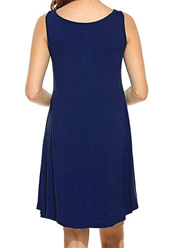 POSESHE Damen Mini Kleid Rundhals Kurz / Langarm Stretch Basic Kleider(Size 36-42) Navy Blau