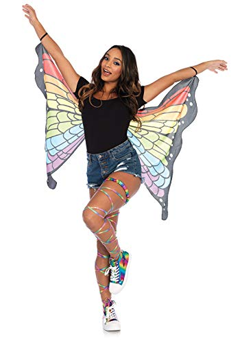 LEG AVENUE A2789 - Mini rainbow butterfly wings, Einheitsgröße (Mehrfarbig) (Für Erwachsene Rainbow Kostüm)