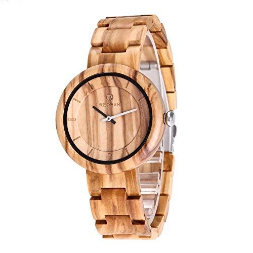 Hölzerne Uhr, handgemachte Vintage Quarzuhr einfach, natürliche Holzuhr romantisch, gesund, umweltfreundlich, (Color : Olive Wood) Vintage-olive Wood