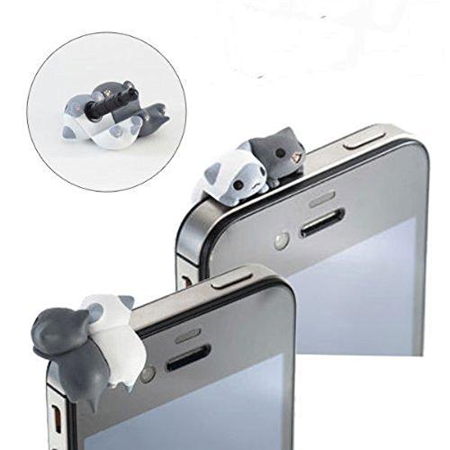 Hosaire Enchufe del Polvo del telefono de 3.5 mm de pequeno Gato para Auriculares de Cristal del Diamante del Enchufe del Polvo de Lujo Anti-Polvo Enchufe Toma de Auriculares Tapon Antipolvo