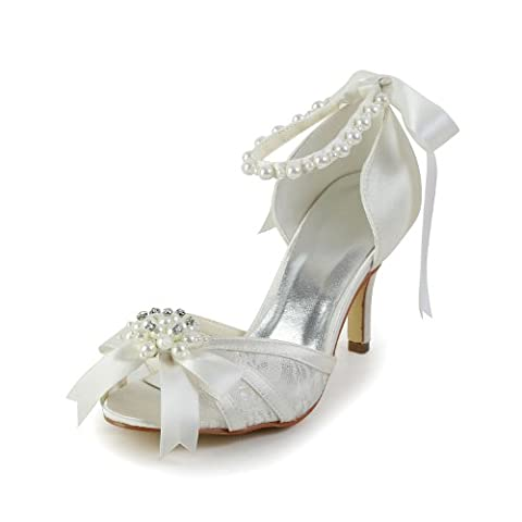 Jia Jia Women¡¯s Ladies Prom Bridal Wedding Shoes Size Women's Satin Spool Heel Peep Toe Pumps With Bowknot Imitation Pearl?Color Ivory Size