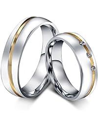 KNSAM - Anillo de matrimonio y compromiso para él y ella, anillos de pareja de boda de acero inoxidable con piedras…