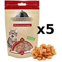 Nelly's Cuisine - Chicken & Cod Cubes Snack para Gatos Bolsa 65 gr Pack 5 Unidades