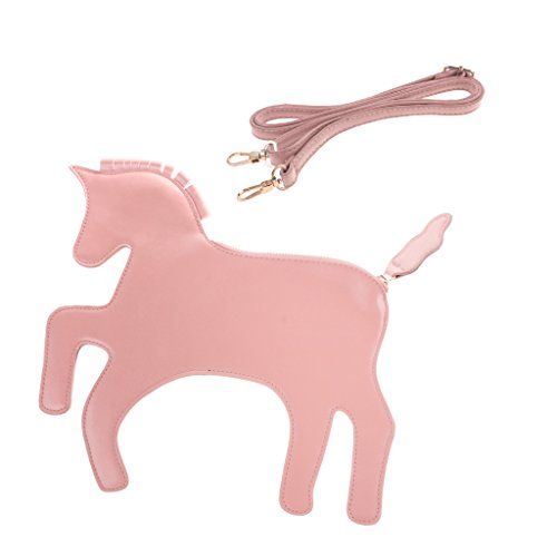 MagiDeal Borsa Da Donna A Tracolla Forma Di Unicorno Alla Moda Regalo Per Festa Compleanno Foto Props Rosa
