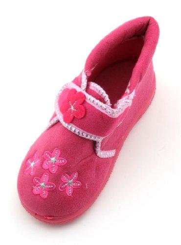 Las niñas flor Applique Velcro Cierre Bootie Zapatillas, color rosa, talla 27,5 EU