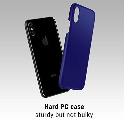 iPhone X Hülle Case, [Unterstützt kabelloses Laden (Qi)] EasyAcc Hard PC Ultradünn und Leicht Dünn, Schlankes Anti-Fingerabdruck, Anti-Scratch Cover mit Mattem Finish auf der Rückseite, Schutzhülle fü Dunkelblau