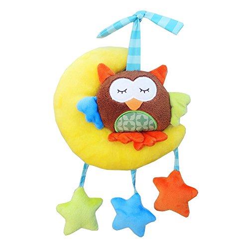 Cochecito de bebé Juguetes de peluche Caja de música incorporada Cuna de coche colgando de juguete relleno 0-3 años Moon Búho