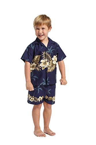 Made in Hawaii Luau Aloha Shirt und Kurz Junge Cabana Set Goldener Hibiskuskreuz in der Marine 2 (Cabana Kurz)