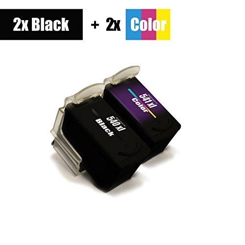 4er Set - stampante cartuccia PG-540 Black + CL-541 Color XXL - per Canon Pixma MX375 MX395 MX435 MX455 MX515 MX525 - XL riempimento - sostituito originale Canon 2x PG540 / 2x CL541