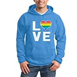 Shirtgeil LGBT Hoodie Homosexuell Gay Pride Regenbogen Herz in Love Kapuzenpullover Hoodie Medium California Blau
