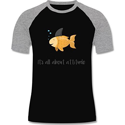 Shirtracer Statement Shirts - It's All about Attitude - Herren Baseball Shirt Schwarz/Grau Meliert