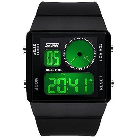 downj da uomo Dual Time LED digitale Sport orologio impermeabile con luce colorata (Nero) - Seiko Moon Watch