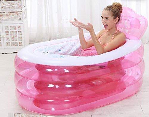 Verdickte aufblasbare Faltbadewanne für Erwachsene (Größe: 130 * 75 * 70 cm) (Farbe: Rosa, Größe: Handpumpe) (Rosa Pumps Größe 11)
