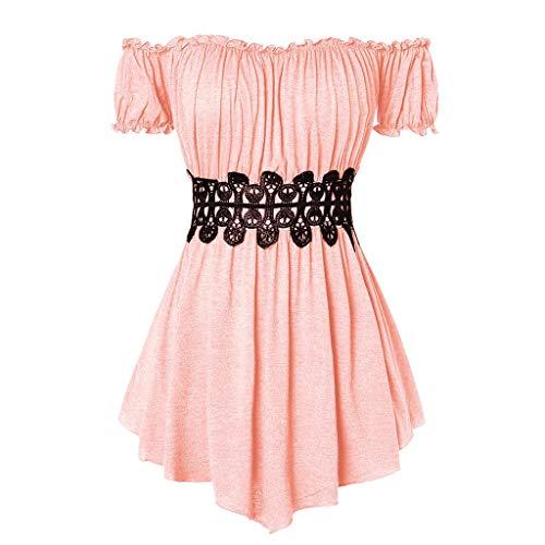 ZEELIY 2019 Sommer Damen Mode Kleider Kurzarm Schulterfrei Plissee T-Shirt Lässige Top Bluse