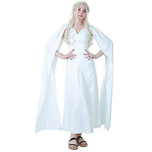 Miccostumes Damen Daenerys Targaryen Weiß Kleid Cosplay Kostüm Halloween - Weiß - Medium