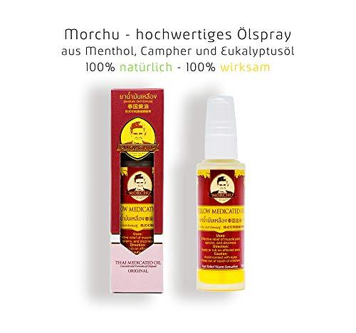 MORCHU® Ätherisches-Öl-Spray Meditation - Natürlicher Balsam mit Pfefferminzöl, Menthol und Eukalyptusöl aus Thailand - 50 ml -