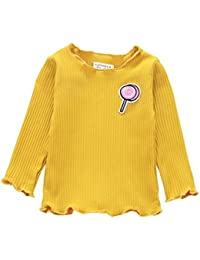 Logobeing Camisetas de Manga Larga Para Bebé Niña Niño Gancho Jerseys Blusas Tops Sudadera (Amarillo, 80)