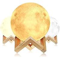 Lámpara de Luna 3D, AIMIUVEI Luz Nocturna Luna LED Lampara Luna Grande 15 cm Conexión Usb con 3 Colores e Intensidad a Elegir Luz de Noche Ambiente Lámparas para Niños Bebé Regalo de Fiesta Decoración