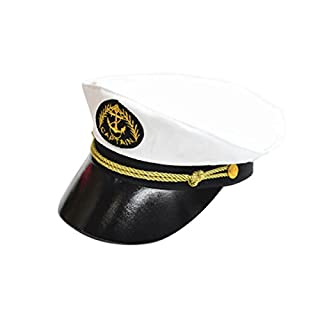 Sailor Ship Yacht Boat Captain Hat Navy Marines Admiral Cap Hat for Kids- White