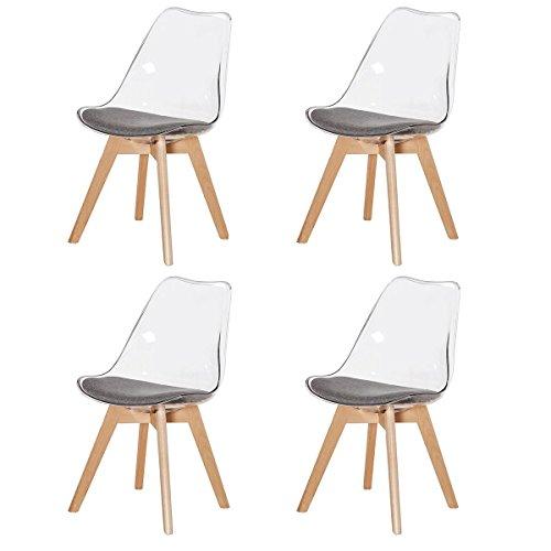 DORAFAIR 4er Set Stuhl Esszimmerstühle Küchenstühle Wohnzimmerstuhl, Stühle Skandinavisch mit Grauem Stoffkissen und Buchenholzbeine,Transparent Grau