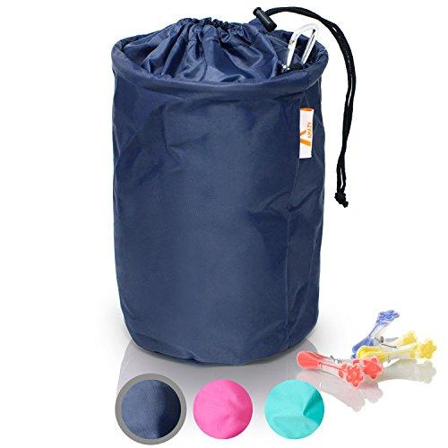 Amazy XXL Wäscheklammerbeutel – Extra-robuster Klammerbeutel mit Karabinerhaken zur Aufbewahrung von bis zu 200 Wäscheklammern für drinnen und draußen (30 x 20 cm)