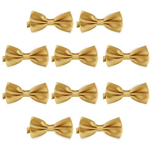 DonDon 10er Set Herren Fliege 12 x 6 cm gebunden und längenverstellbar messing Gold Bow Tie