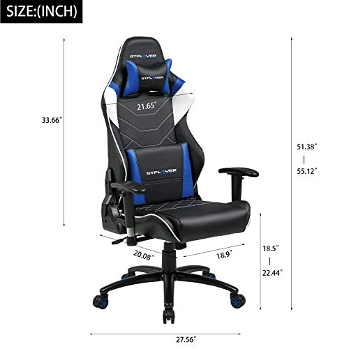 GTPLAYER Chaise Gaming de Bureau Fauteuil de Bureau Chaise Gamer Music avec Haut-Parleur Bluetooth, Design Ergonomique Bleu 10