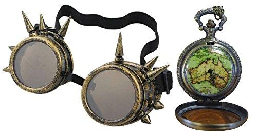 Taschenuhr Neue (Gotische Messing Spike Schutzbrille + Neue Welt Australischen Pendant Taschenuhr)