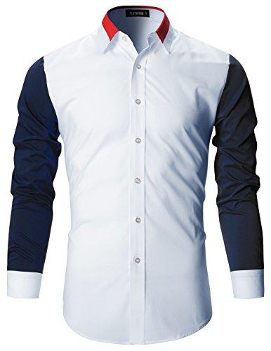FLATSEVEN Chemise Slim Fit Casual Premium Homme SH1003 Blanc