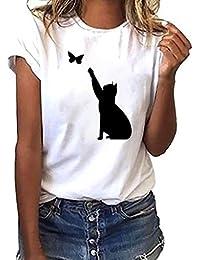 786a2a961d82 Makalon Femmes T-Shirt à Manches Courtes avec Imprimé Papillons ...
